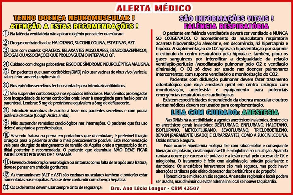 Alerta médico de distrofia muscular: Dra. Ana Lúcia Langer
